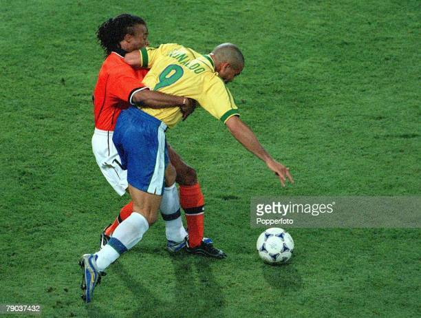 World Cup Finals Marseille France SemiFinal 7th July Brazil 1 v Holland 1 Brazil's Ronaldo is held back by Holland's Edgar Davids