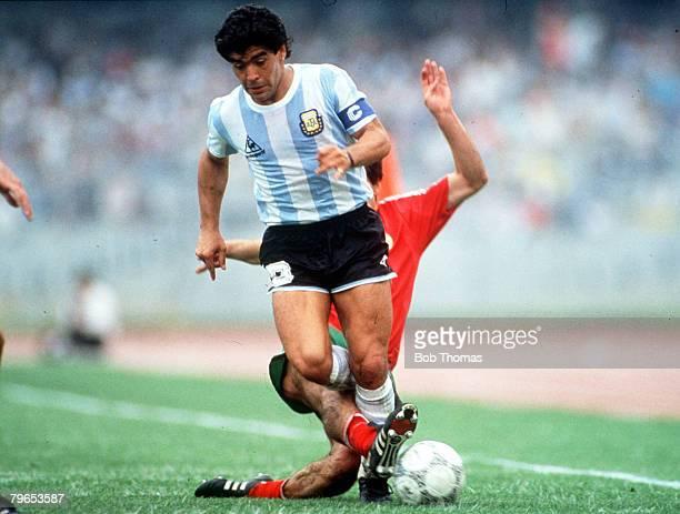 World Cup Finals Mexico City Mexico 10th June Argentina 2 v Bulgaria 0 Argentina's Diego Maradona is tackled by Bulgaria's Anjo Sadkov