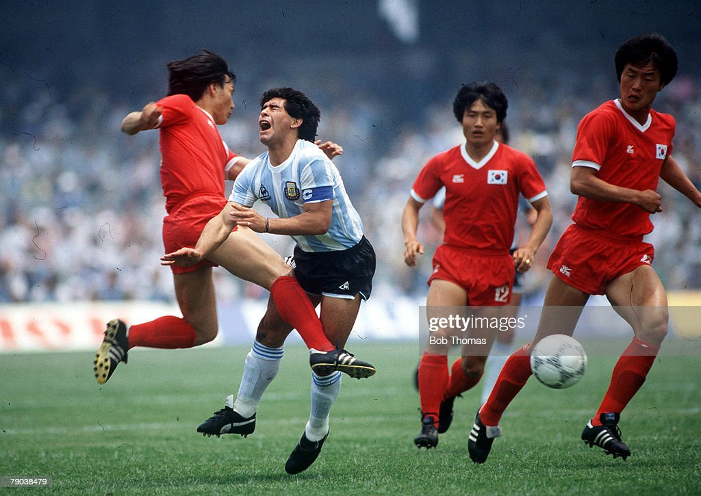 World Cup Finals, Mexico City, Mexico, 2nd June, 1986, Argentina 3 v South Korea 1, Argentina's Diego Maradona is fouled by South Korea's Jung Moo Huh