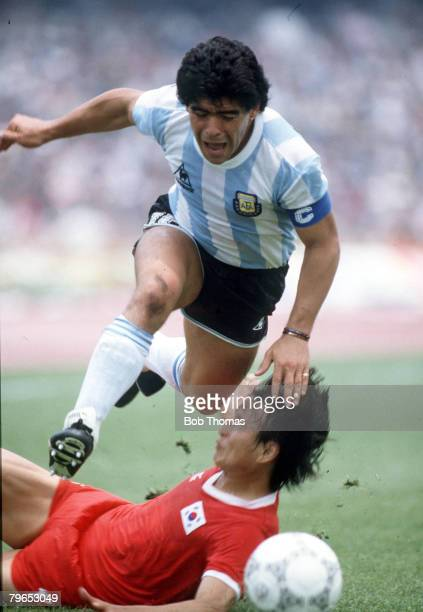 World Cup Finals Mexico City Mexico 2nd June Argentina 3 v South Korea 1 Argentina's Diego Maradona on the ball