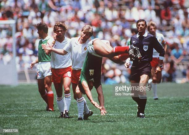 World Cup Finals Mexico City Mexico 3rd June Mexico 2 v Belgium 1 Mexico's Hugo Sanchez somersaults as he celebrates scoring his side's second goal