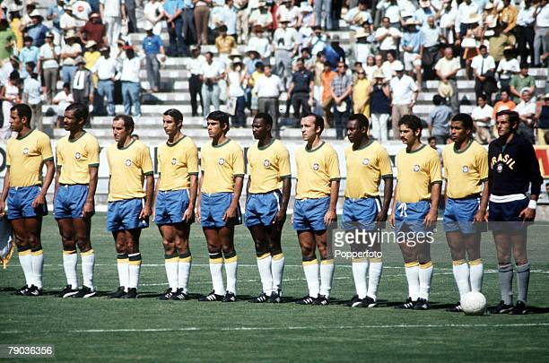 World Cup Finals Mexico Eventual World Champions Brazil line up before one of their matches They are LR Carlos Alberto Brito Gerson Piazza Clodoaldo...