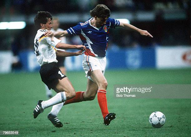 World Cup Finals Milan Italy 10th June West Germany 4 v Yugoslavia 1 West Germany's Lothar Matthaeus challenges Yugoslavia's Baljic for the ball