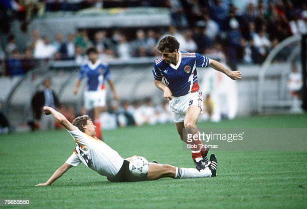 World Cup Finals Milan Italy 10th June West Germany 4 v Yugoslavia 1 West Germany's Guido Buchwald is beaten by Yugoslavia's Safet Susic
