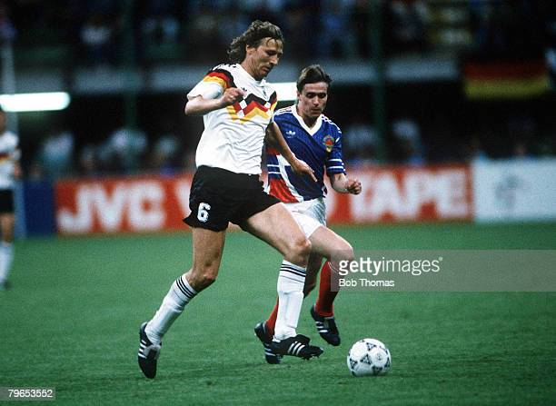 World Cup Finals Milan Italy 10th June West Germany 4 v Yugoslavia 1 West Germany's Guido Buchwald on the ball