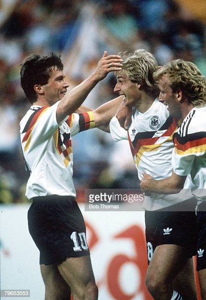 World Cup Finals Milan Italy 10th June West Germany 4 v Yugoslavia 1 West Germany's Jurgen Klinsmann is congratulated by teammates Lothar Matthaeus...