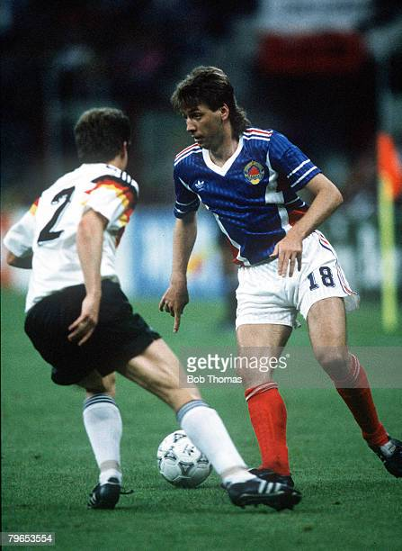 World Cup Finals Milan Italy 10th June West Germany 4 v Yugoslavia 1 Yugolsavia's Baljic takes on West Germany's Stefan Reuter