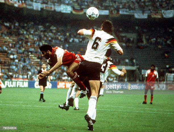 World Cup Finals Milan Italy 15th June West Germany 5 v United Arab Emirates 1 UAE's Eissa Meer is beaten to the ball in the air by West Germany's...