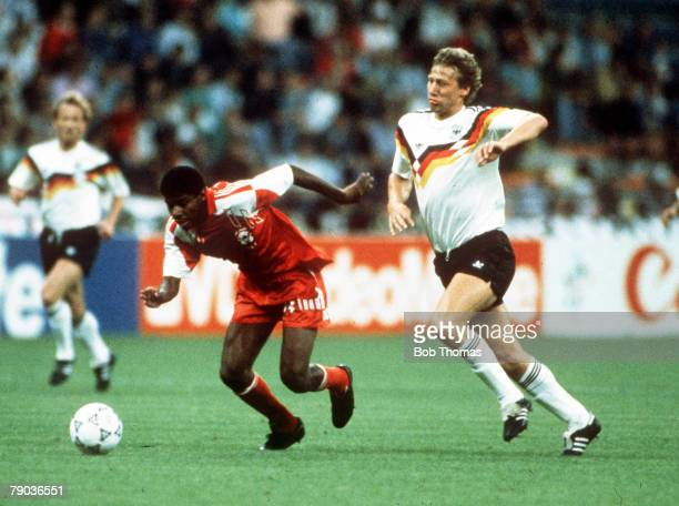 World Cup Finals Milan Italy 15th June West Germany 5 v United Arab Emirates 1 UAE's Nasser Mubarak moves away from West Germany's Guido Buchwald...