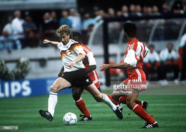 World Cup Finals Milan Italy 15th June West Germany 5 v United Arab Emirates 1 West Germany's Rudi Voeller on the ball