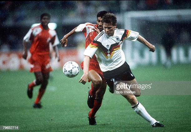 World Cup Finals Milan Italy 15th June West Germany 5 v United Arab Emirates 1 West Germany's Stefan Reuter on the ball