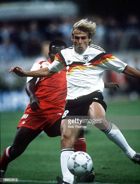 World Cup Finals Milan Italy 15th June West Germany 5 v United Arab Emirates 1 West Germany's Jurgen Klinsmann