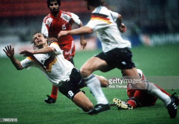 World Cup Finals Milan Italy 15th June West Germany 5 v United Arab Emirates 1 West Germany's Jurgen Klinsmann is fouled