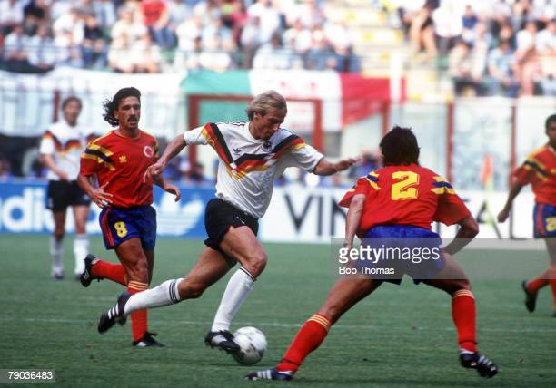 World Cup Finals Milan Italy 19th June Colombia 1 v West Germany 1 West Germany's Jurgen Klinsmann moves forward with the ball past Colombian...