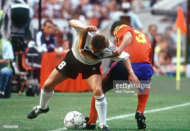 World Cup Finals Milan Italy 19th June Colombia 1 v West Germany 1 West Germany's Thomas Haessler tangles with Colombia's Gildardo Gomez as they...