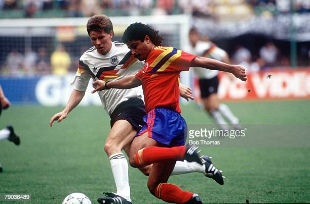 World Cup Finals Milan Italy 19th June Colombia 1 v West Germany 1 West Germany's Stefan Reuter challenges Colombia's Gildardo Gomez for the ball