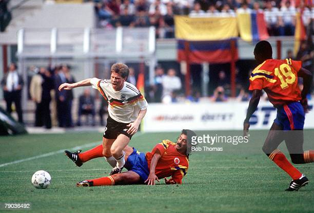 World Cup Finals Milan Italy 19th June Colombia 1 v West Germany 1 West Germany's Stefan Reuter is challenged for the ball by Colombia's Leonel...