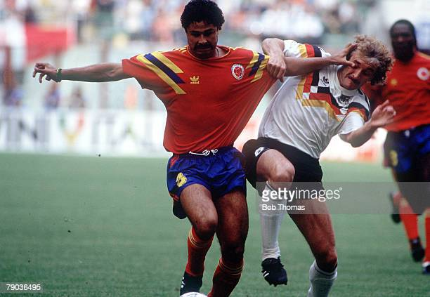 World Cup Finals Milan Italy 19th June Colombia 1 v West Germany 1 Colombia's Gildardo Gomez battles for the ball with West Germany's Rudi Voeller