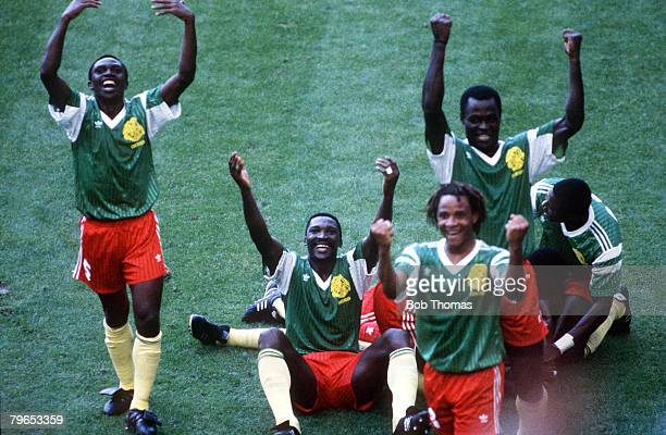 World Cup Finals Milan Italy 8th June Argentina 0 v Cameroon 1 Cameroon players celebrate their goal scored by Oman Biyick