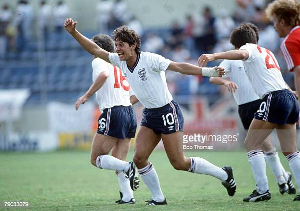 World Cup Finals Monterrey Mexico 11th June England 3 v Poland 0 England's hat trick hero Gary Lineker celebrates after scoring the first of his...