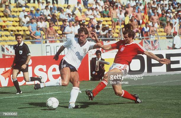 World Cup Finals Monterrey Mexico 11th June England 3 v Poland 0 England's Glenn Hoddle is challenged by Poland's Wlodimierz Smolarek