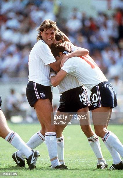 World Cup Finals Monterrey Mexico 11th June England 3 v Poland 0 England's hattrick hero Gary Lineker is congratulated by Glenn Hoddle after he...