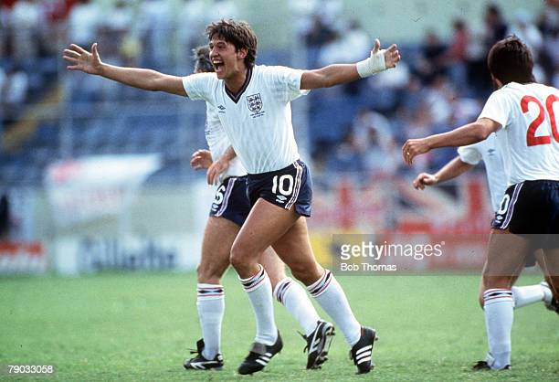 World Cup Finals Monterrey Mexico 11th June England 3 v Poland 0 England's hattrick hero Gary Lineker celebrates after scoring the first of his three...