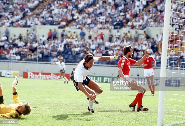 World Cup Finals Monterrey Mexico 11th June England 3 v Poland 0 England's hattrick hero Gary Lineker leaves the Polish defence in disarray as he...
