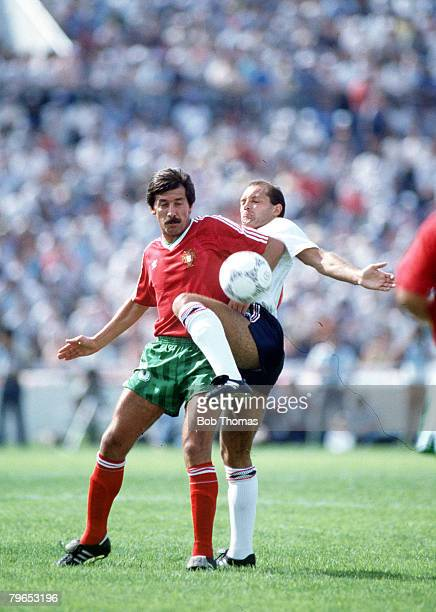 World Cup Finals Monterrey Mexico 3rd June England 0 v Portugal 1 England's Ray Wilkins battles for the ball with Portugal's Carlos Manuel