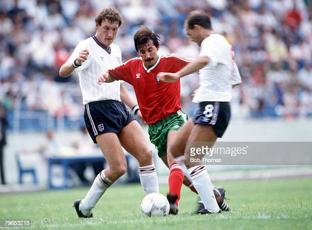 World Cup Finals Monterrey Mexico 3rd June England 0 v Portugal 1 England's Ray Wilkins and Terry Butcher battle for the ball with Portugal's Carlos...