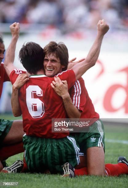 World Cup Finals Monterrey Mexico 3rd June England 0 v Portugal 1 Portugal's Antonio Sousa congratulates goalscorer Carlos Manuel