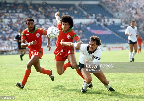 World Cup Finals Monterrey Mexico 6th June 1986 England 0 v Morocco 0 England's Bryan Robson battles for the ball with Morocco's Biyaz which led to a...