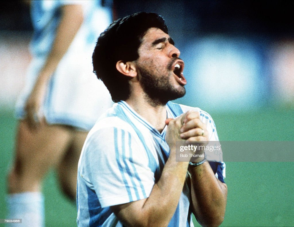 World Cup Finals, Naples, Italy, 18th June, 1990, Argentina 1 v Romania 1, Argentina's Diego Maradona offers a prayer during the match