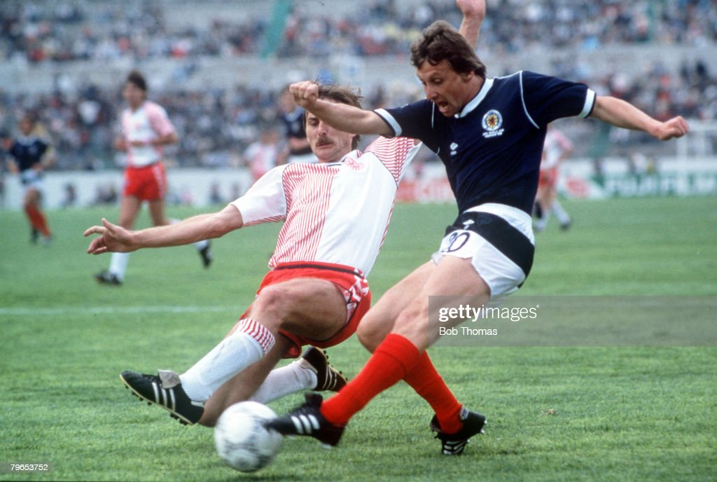 World Cup Finals Neza Mexico 4h June Denmark 1 v Scotland 0 Scotland's Paul Sturrock is challenged for the ball by Denmark's Ivan Nielsen