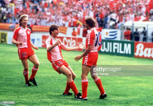 World Cup Finals Neza Mexico 8th June Denmark 6 v Uruguay 1 Denmark's Michael Laudrup celebrates his goal with Preben Elkjaer