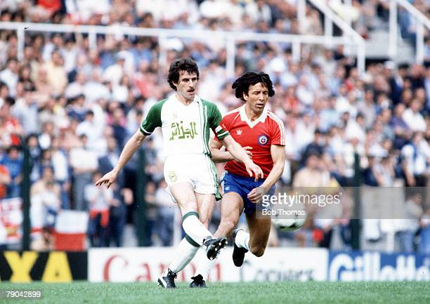World Cup Finals Oviedo Spain 24th June Algeria 3 v Chile 2 Algeria's Ali Fergani beats Chile's Mario Soto