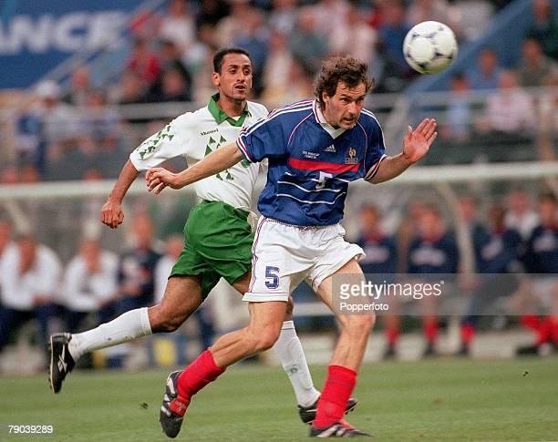 World Cup Finals Paris France 18th JUNE 1998 France 4 v Saudi Arabia 0 France's Laurent Blanc with Saudi Arabia's Sami Al Jaber