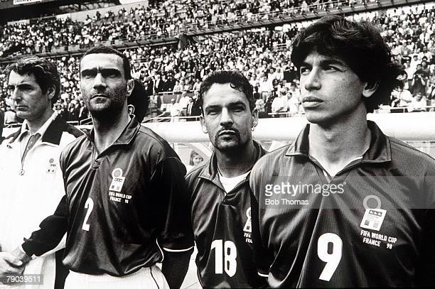 World Cup Finals Paris France 23rd JUNE 1998 Italy 2 v Austria 1 Italy's players LR Bergomi Roberto Baggio and Albertini line up before the match