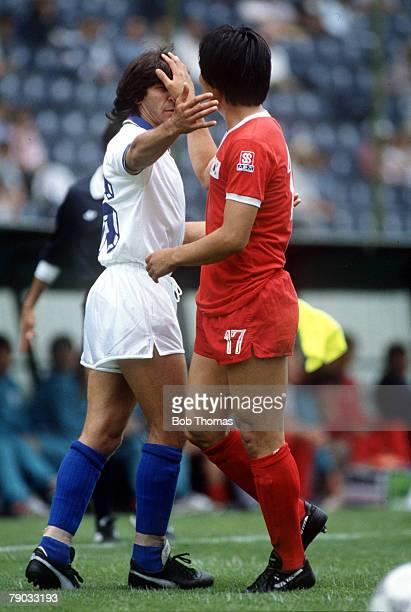 World Cup Finals Puebla Mexico 10th June Italy 3 v South Korea 2 South Korea's Jung Moo Huh with Italy's Bruno Conti