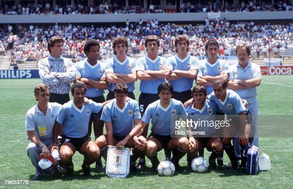 World Cup Finals Queretaro Mexico 4th June 1986 West Germany 1 v Uruguay 1 The Uruguayan team line up before the match