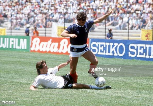 World Cup Finals Queretaro Mexico 8th June West Germany 2 v Scotland 1 Scotland's Davie Cooper goes past West Germany's Lothar Matthaeus