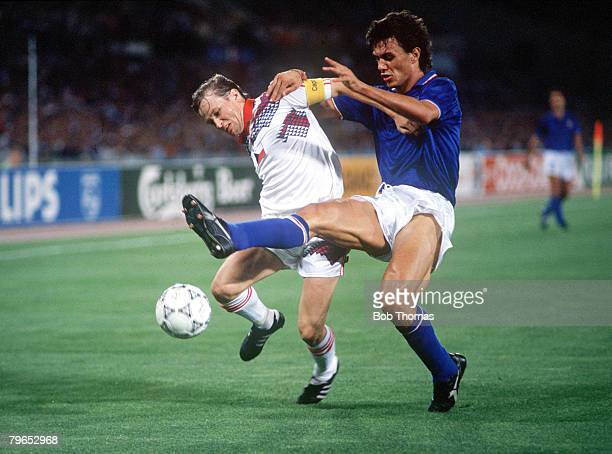 World Cup Finals Rome Italy 19th June Italy 2 v Czechoslovakia 0 Czechoslovakia's Ivan Hasek is put under pressure from Italy's Paolo Maldini