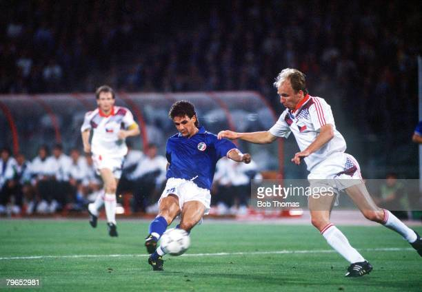 World Cup Finals Rome Italy 19th June Italy 2 v Czechoslovakia 0 Italy's Roberto Baggio on his way to scoring his side's second goal