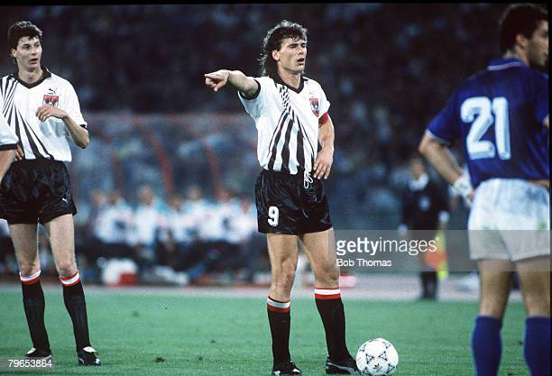 World Cup Finals Rome Italy 9th June Italy 1 v Austria 0 Austria's Anton Polster directs a free kick