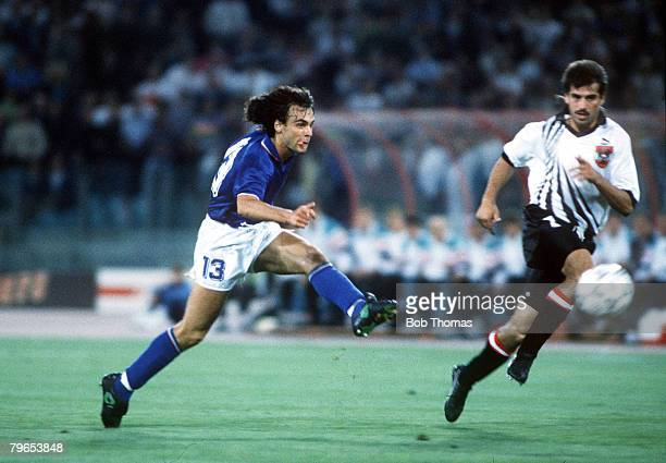 World Cup Finals Rome Italy 9th June Italy 1 v Austria 0 Italy's Giuseppe Giannini shoots at goal