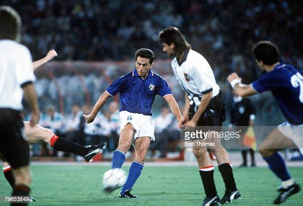 World Cup Finals Rome Italy 9th June Italy 1 v Austria 0 Italy's Riccardo Ferri shoots at goal past Austrian defenders