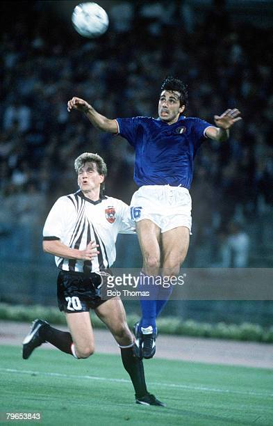 World Cup Finals Rome Italy 9th June Italy 1 v Austria 0 Italy's Andrea Carnevale jumps up to head the ball