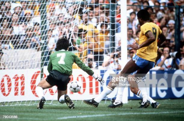World Cup Finals Second Phase Barcelona Spain 2nd July Brazil 3 v Argentina 1 Brazil's Zico hidden by Serginho follows up Eder's freekick to score...