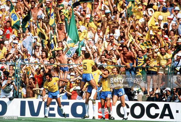 World Cup Finals Second Phase Barcelona Spain 5th July Italy 3 v Brazil 2 Brazilian players celebrate their first goal scored by Socrates in front of...