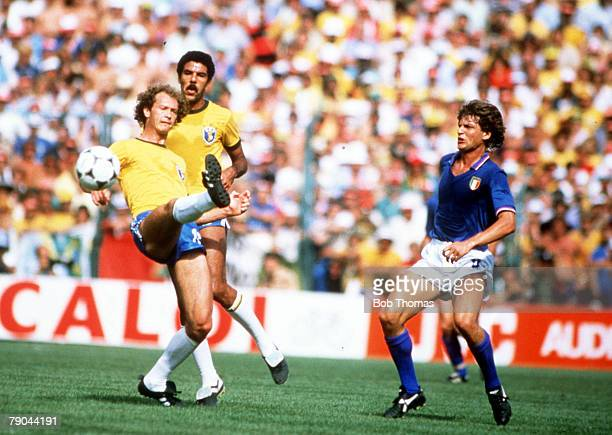 World Cup Finals Second Phase Barcelona Spain 5th July Italy 3 v Brazil 2 Italy's Giancarlo Antognoni is beaten to the ball by Brazil's Paulo Falcao
